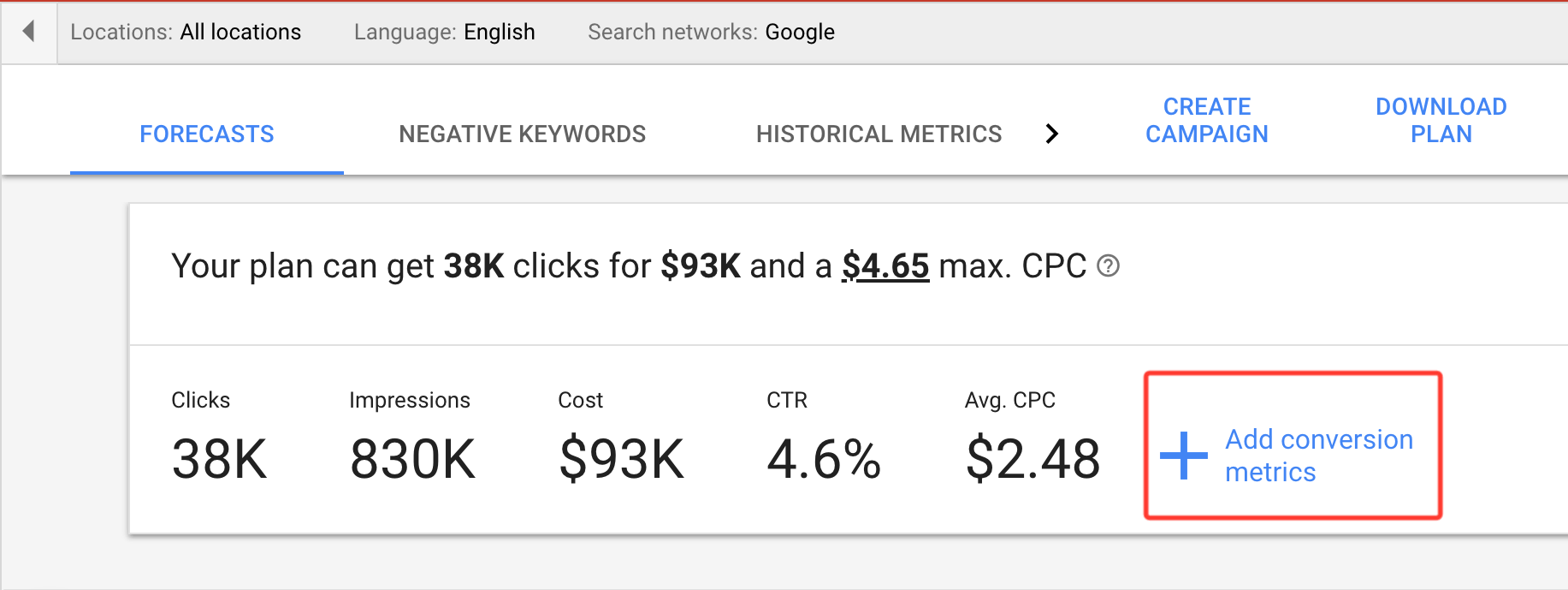 get estimated google advertising cost by keywords forecasting