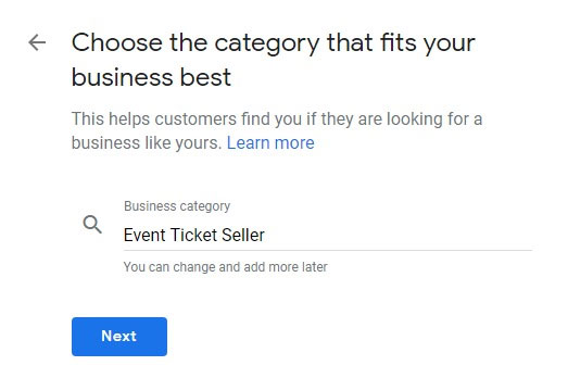 Add categories to Google my business