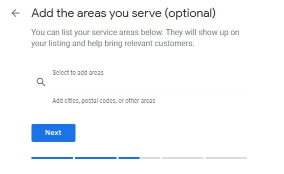 Add postal code and cities into Google my business